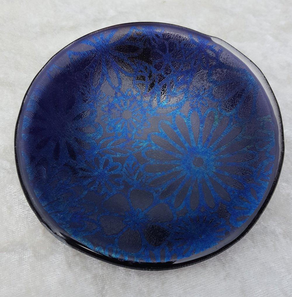 Small bowl, irid stencils. $28