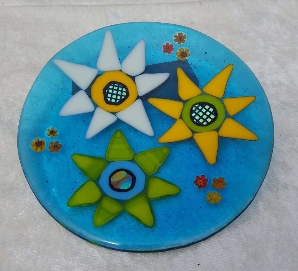 "Transparent blue flower plate 8"" $48"