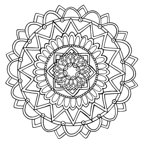 Simple Symmetrical Mandala Coloring Sheet