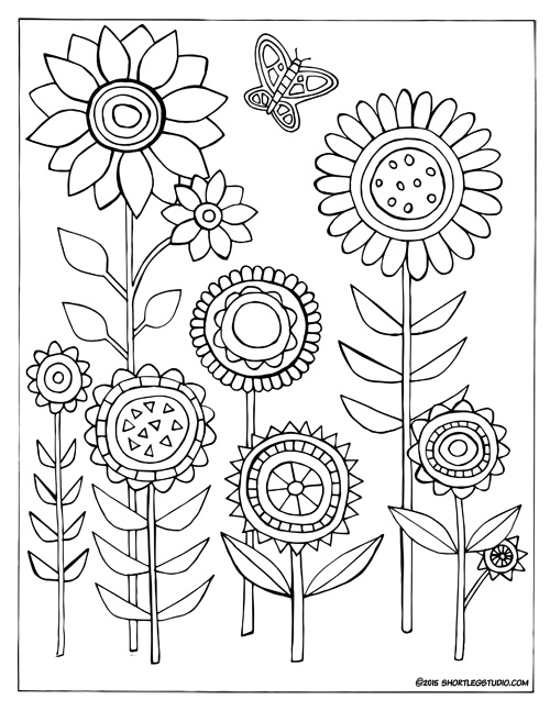 Funky Flowers Coloring Sheet