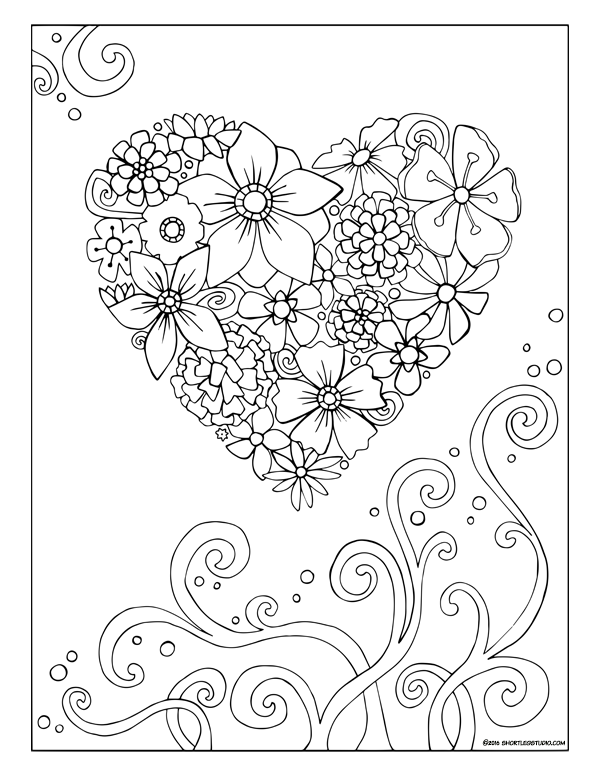 Heart of Flowers Coloring Sheet