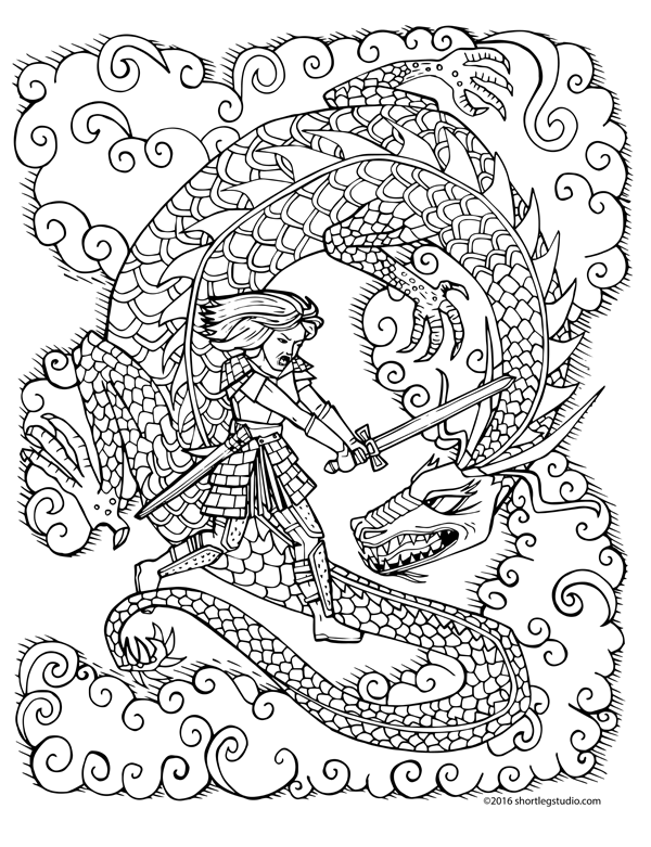 Female Fighter with Dragon Coloring Sheet