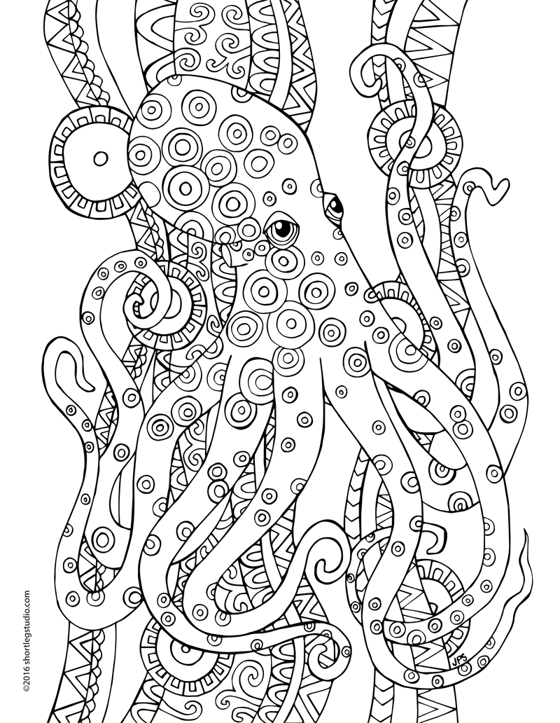 Meditative Octopus Coloring Sheet