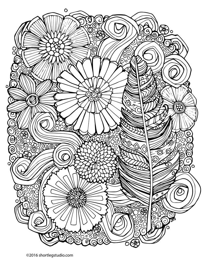 Feather and Flowers Meditative Coloring Sheet