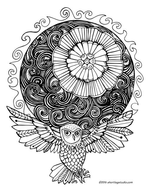 Summer Solstice With Owl Coloring Sheet Thumbnail