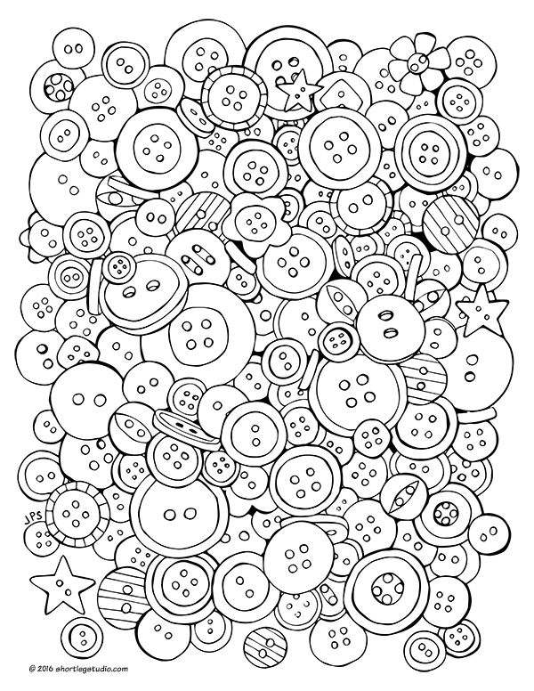 Fun button coloring sheet