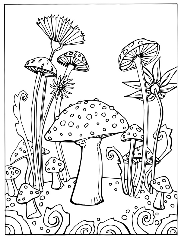 Mushrooms coloring page thumbnail jpg