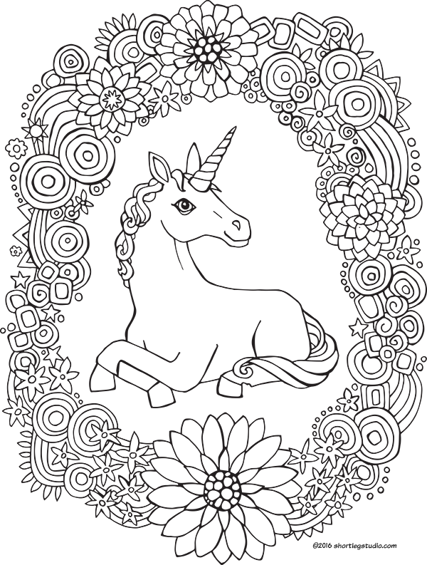 Unicorn & rainbow wreath coloring page