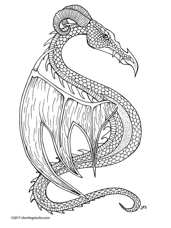 Stylized dragon with horns coloring page