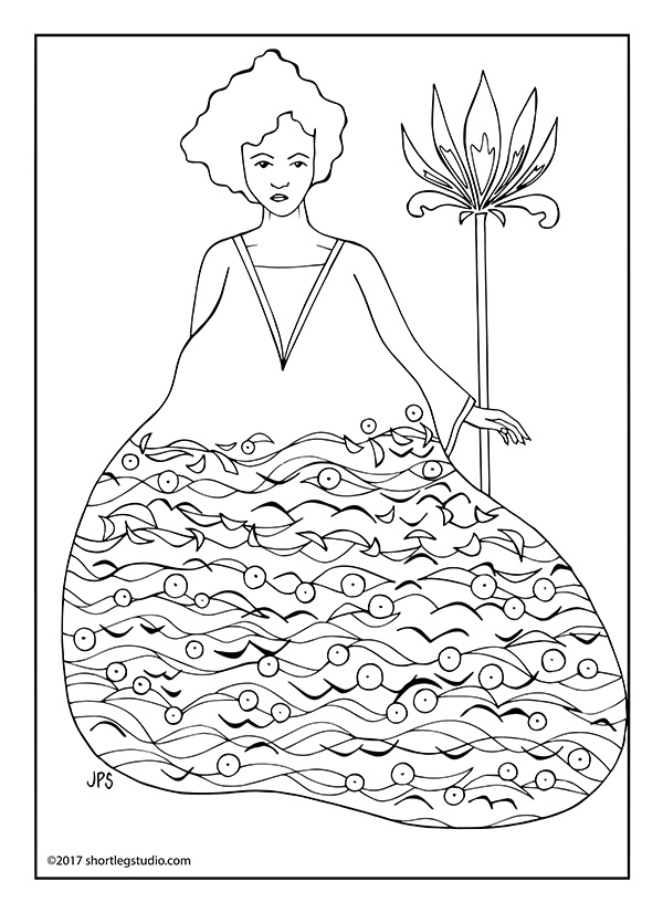 Art Deco Woman Meditative Coloring Page