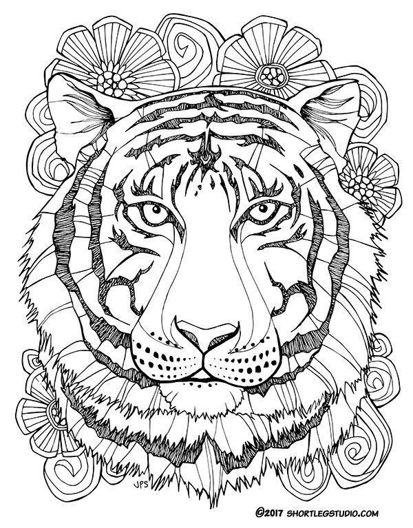 Tiger with flowers coloring page for adults