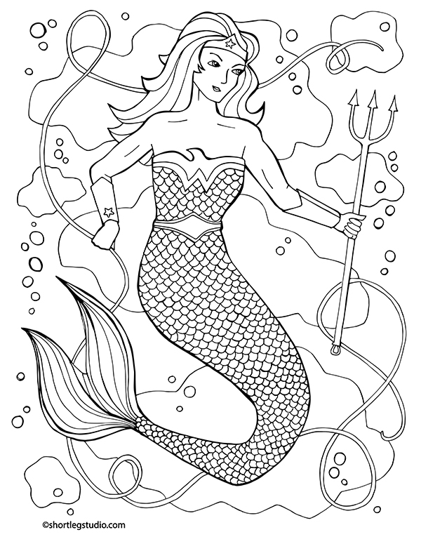 Wonder Woman Mermaid Coloring
