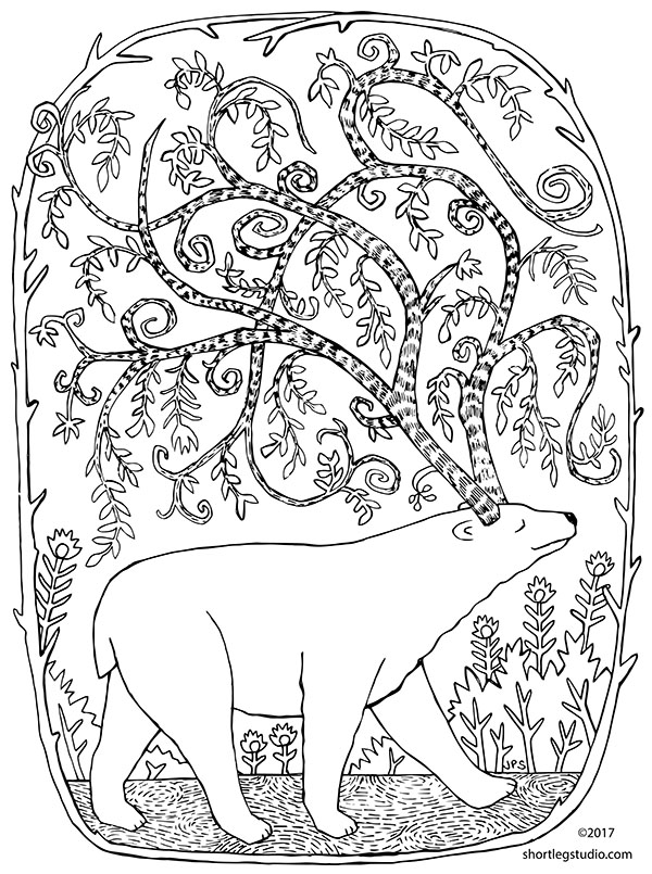 Winter solstice polar bear coloring page