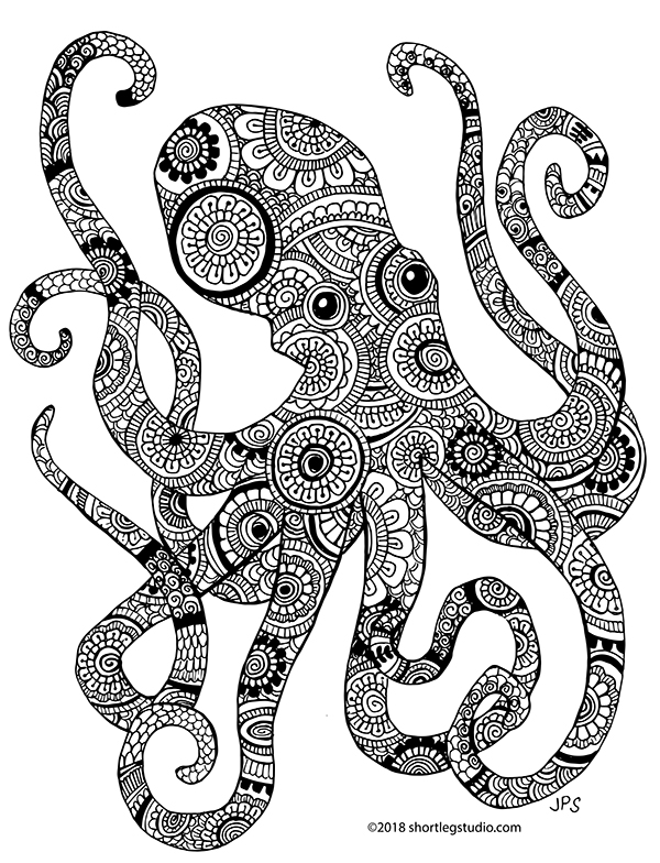 Henna octopus coloring sheet