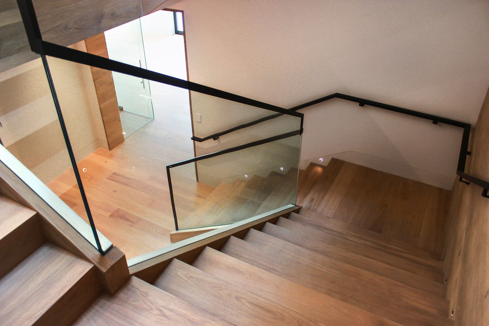 Atherton Custom Stairwell Glass Panel
