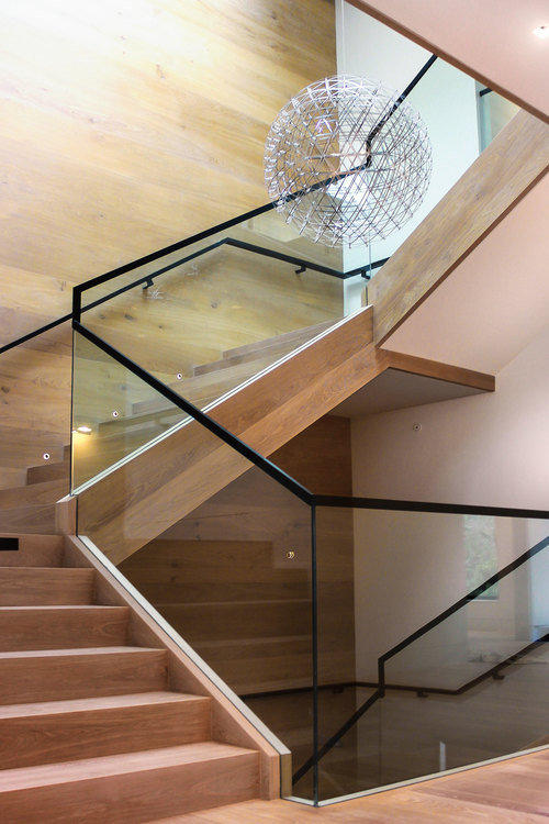 Atherton Custom Fabrication Stair Well glass and wood