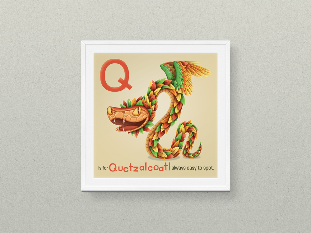 "Q is for Quetzalcoatl 6x6"" print, by  Hazy Dell Press"