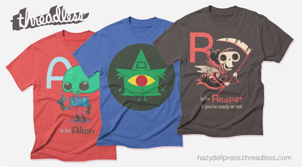 Head to hazydellpress.threadless.com to shop for shirts, sweatshirts, kids and baby clothing, home décor and more—all featuring your favorite Hazy Dell Press characters.