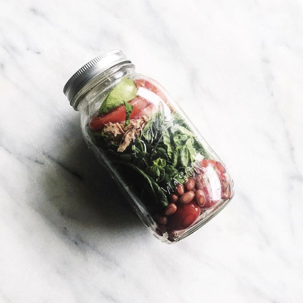 Michelle loves salads for lunch, and so do we! Lunch hack! If you make your own, use a mason jar, add the dressing in first so it doesn't wilt your greens then shake when ready to eat!