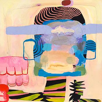 """Pipe Dream"", cut paper, gouache, pencil on panel, 16"" x 16"""