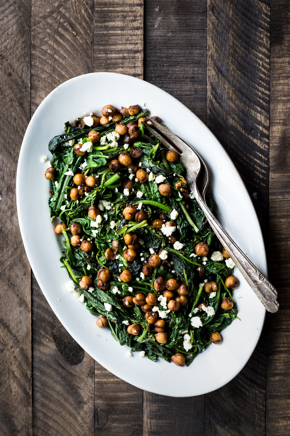 Mustard Greens with Balsamic-Glazed Chickpeas (you can also use the mizuna that's in the mustard green bunches!)
