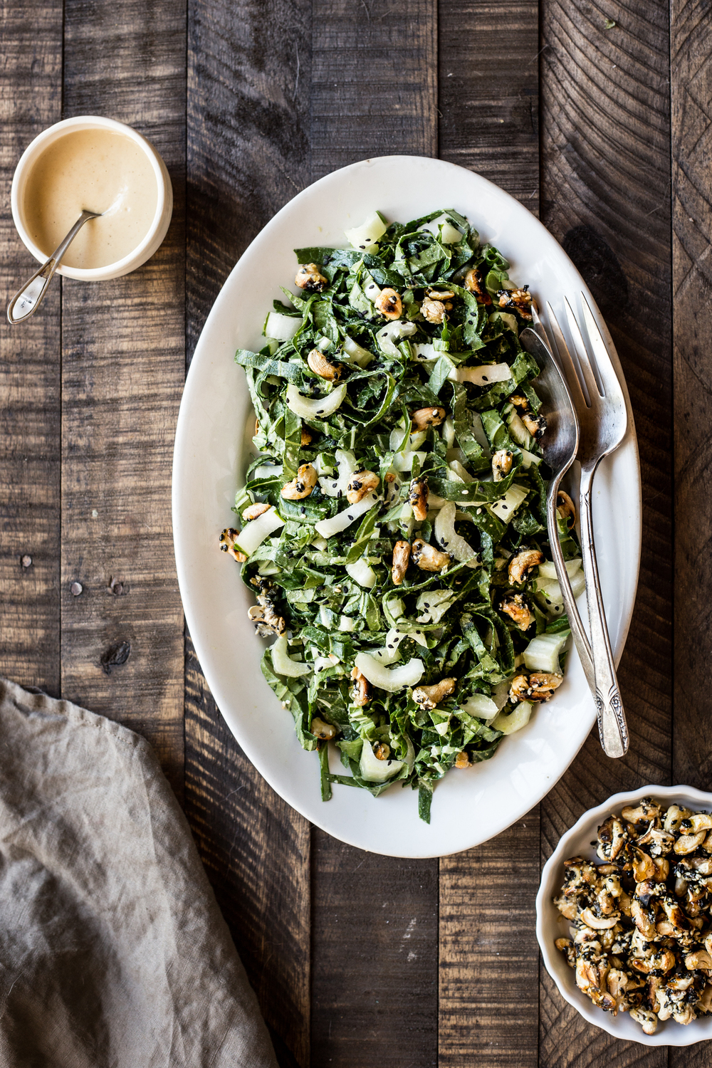 Bok Choy Salad with Miso Tahini Dressing and Sesame Cashew Clusters