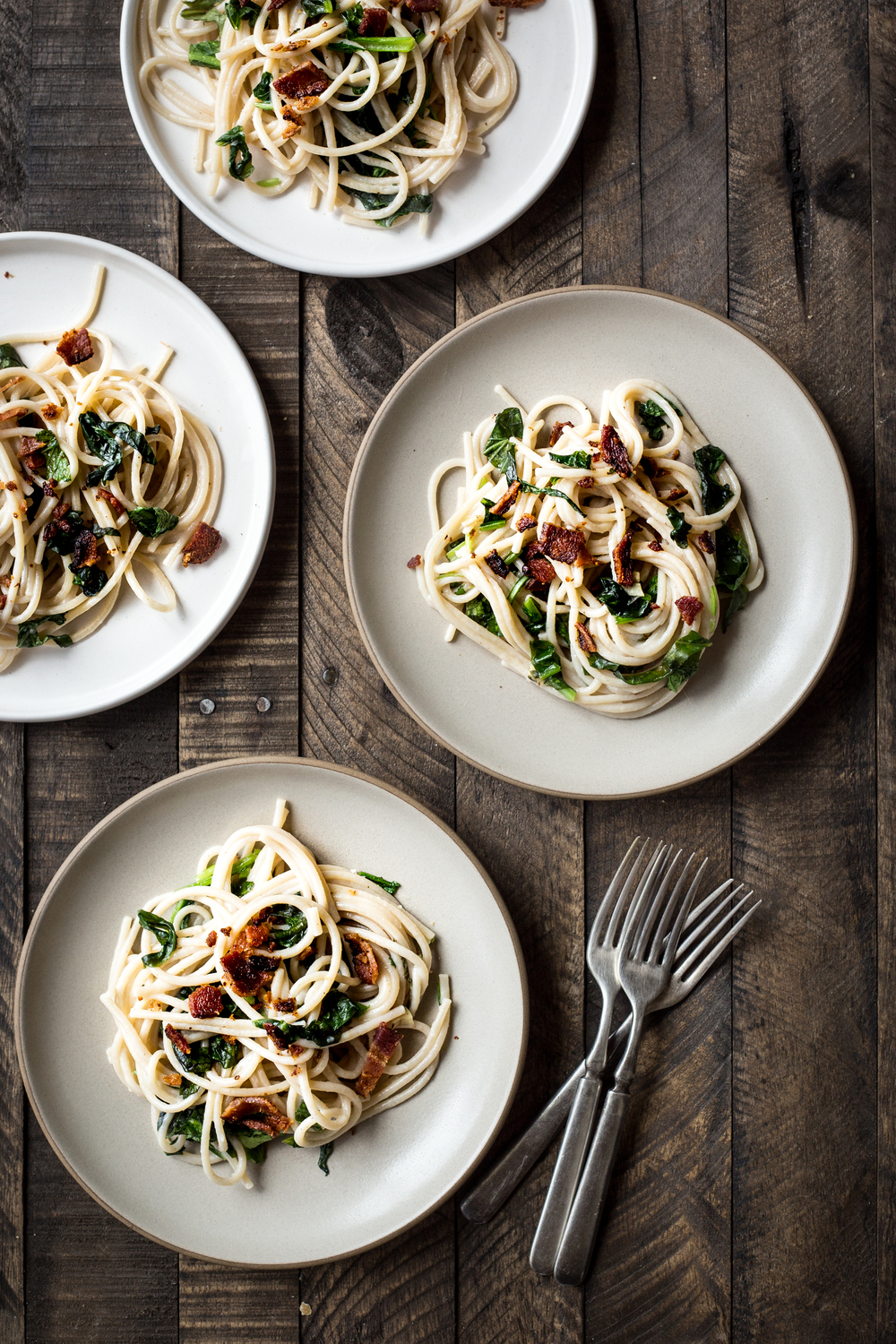 Pasta with Mustard Greens and Pancetta