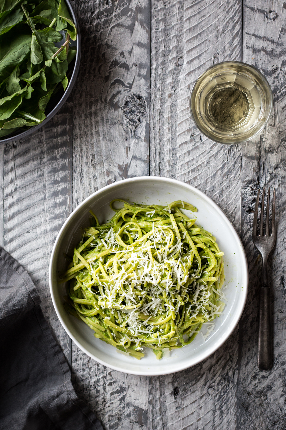 Spaghetti with Arugula-Almond Pesto
