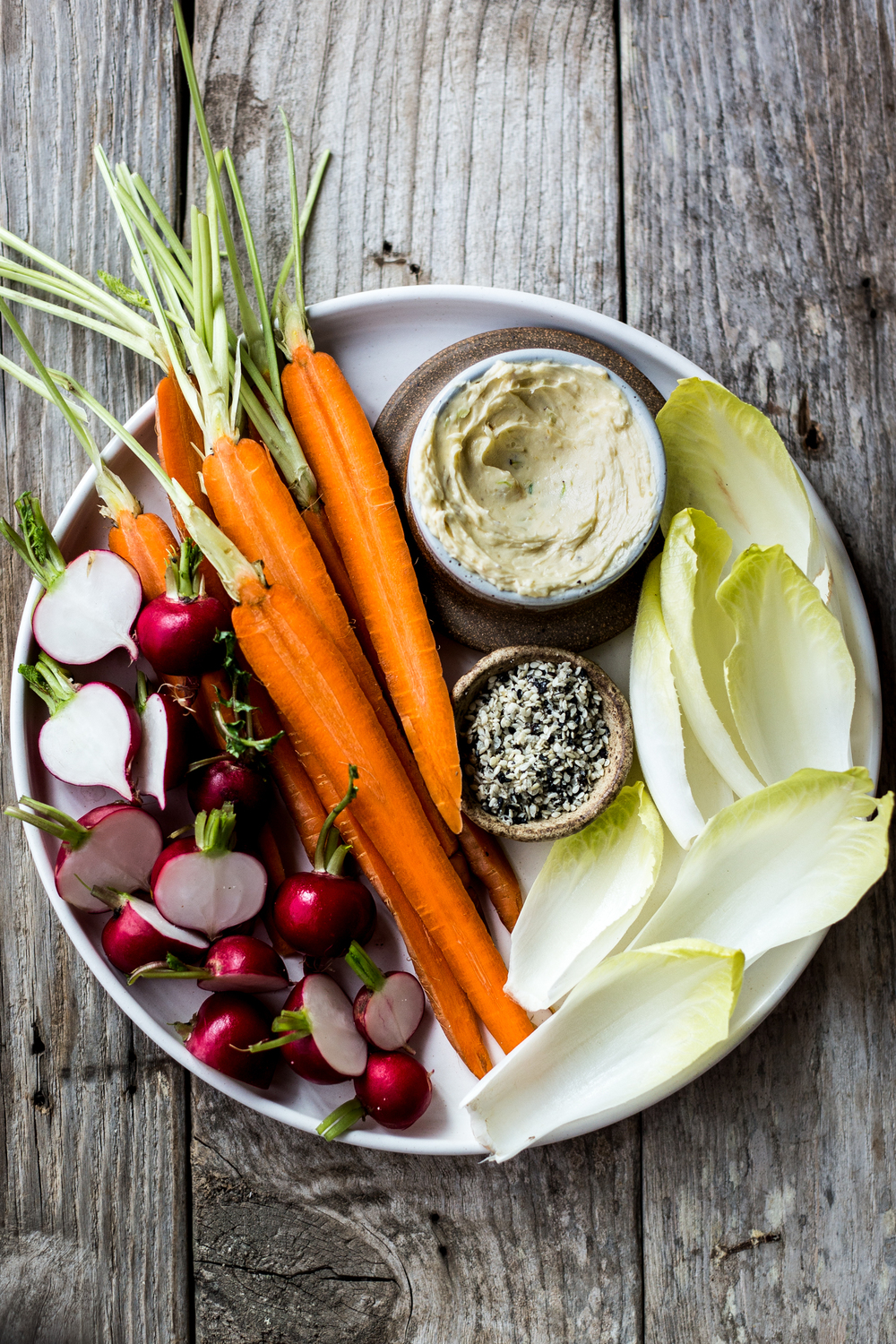 Scallion Miso Butter with Veggies  (this butter is addicting. Dip any of the veggies--sliced beets, turnips and even toasted bread or crackers!