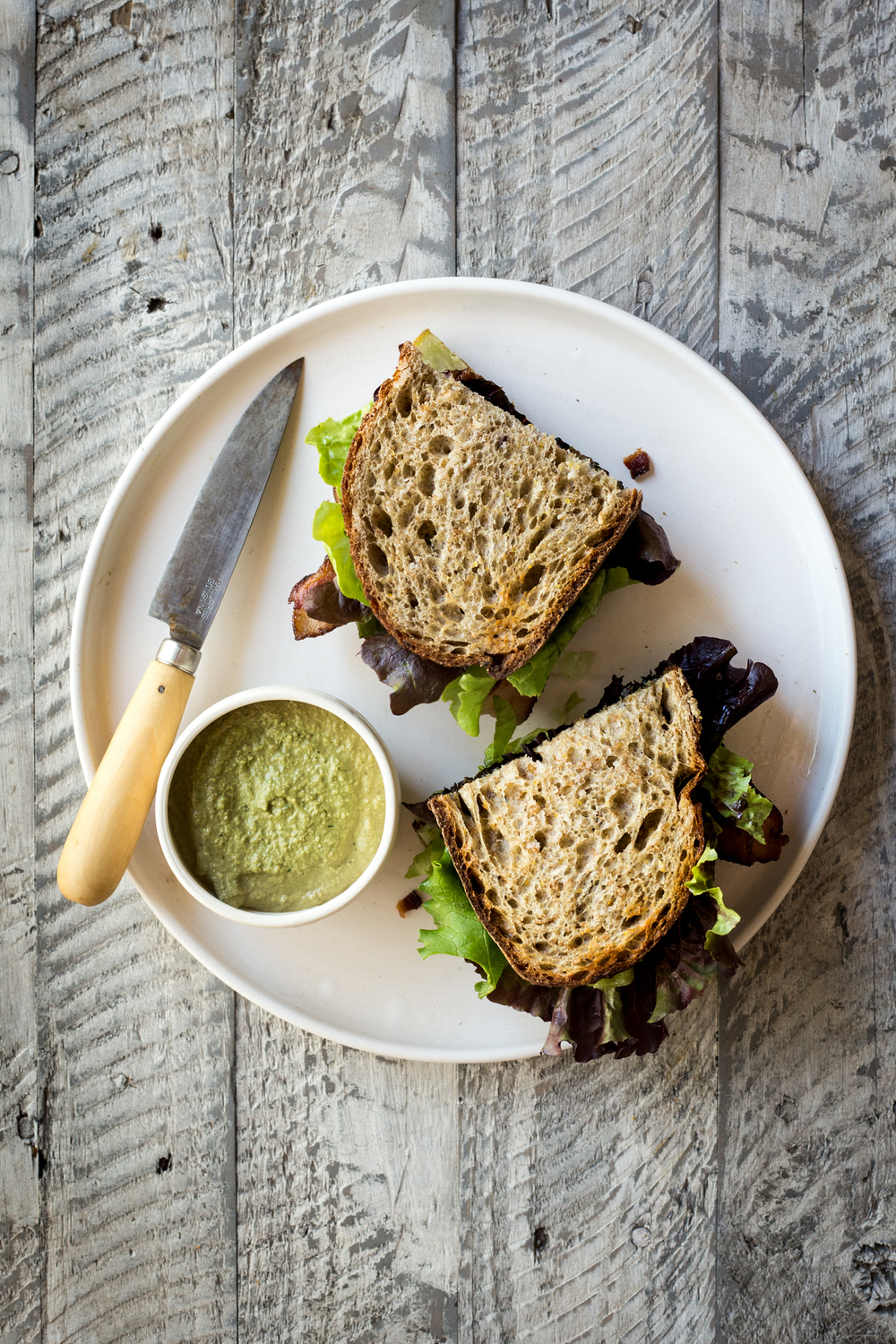 Bacon Lettuce & Kohlrabi Sandwich with Herbed-Cashew Sauce
