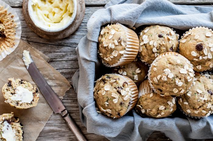 Spiced Honey Zucchini Muffins
