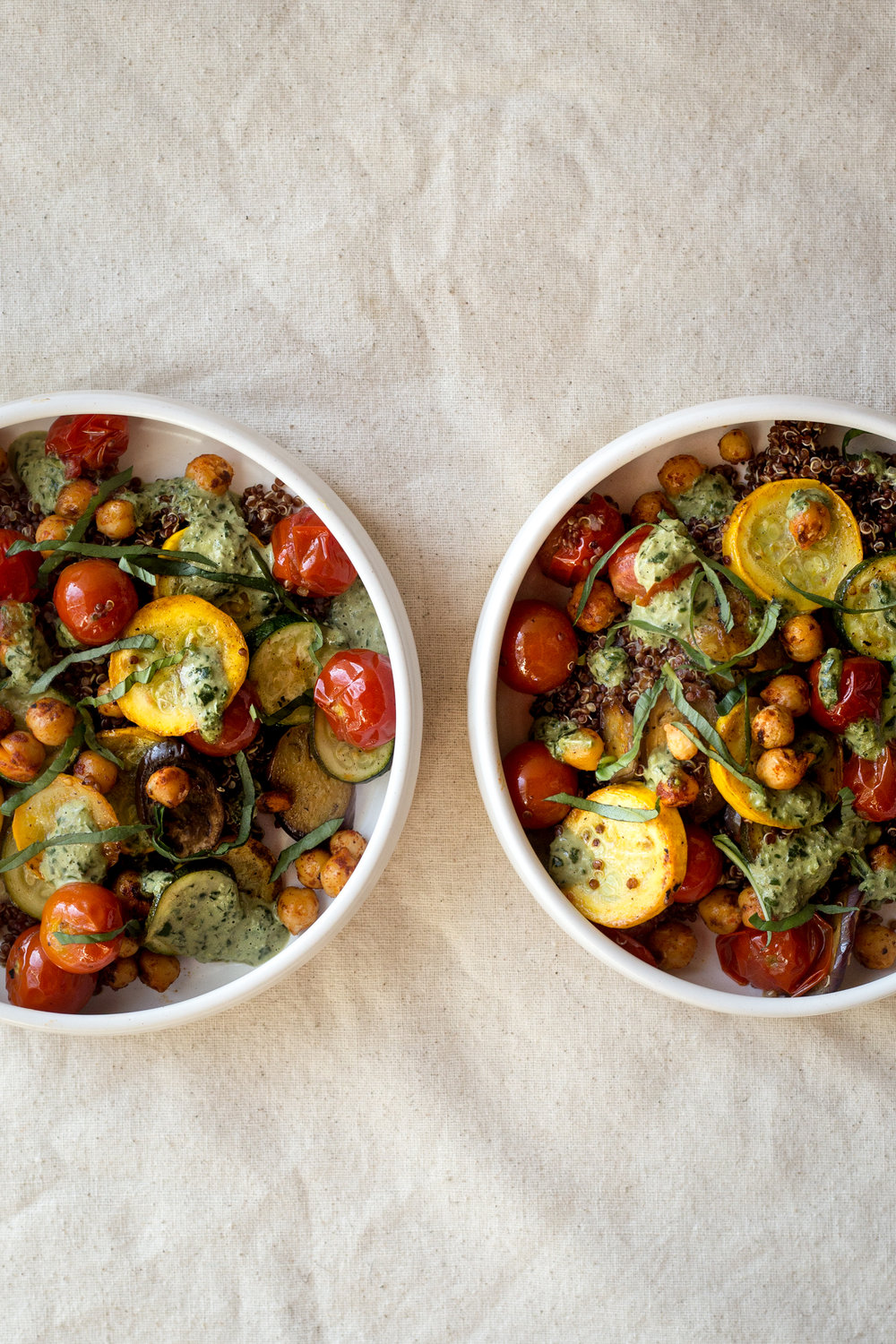 Farm Stand Summer Vegetable Bowls with Basil Tahini Sauce
