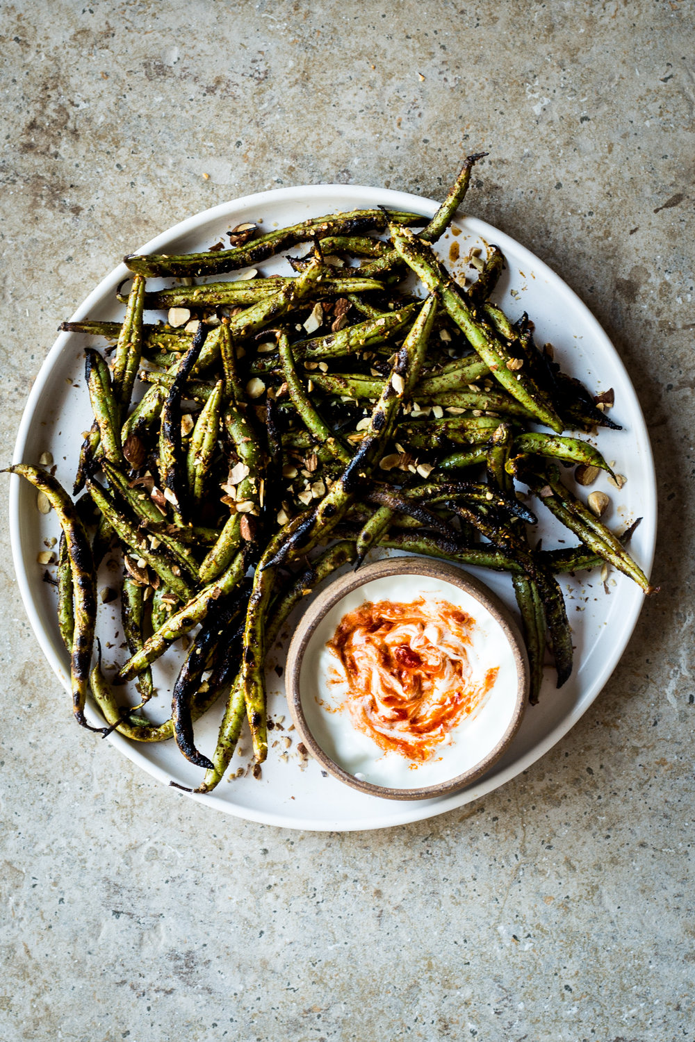 Charred Green Beans with Harissa Yogurt