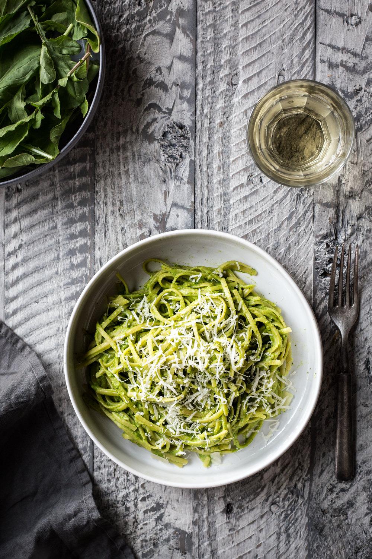 Spaghetti with Arugula-Almond Pesto