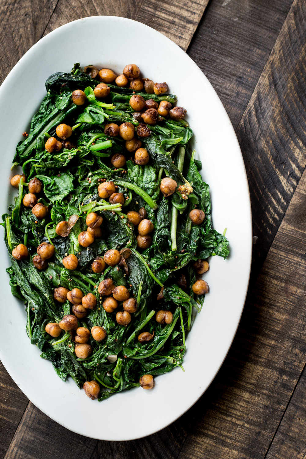 Braised Mustard Greens with Caramelized Sesame Chickpeas