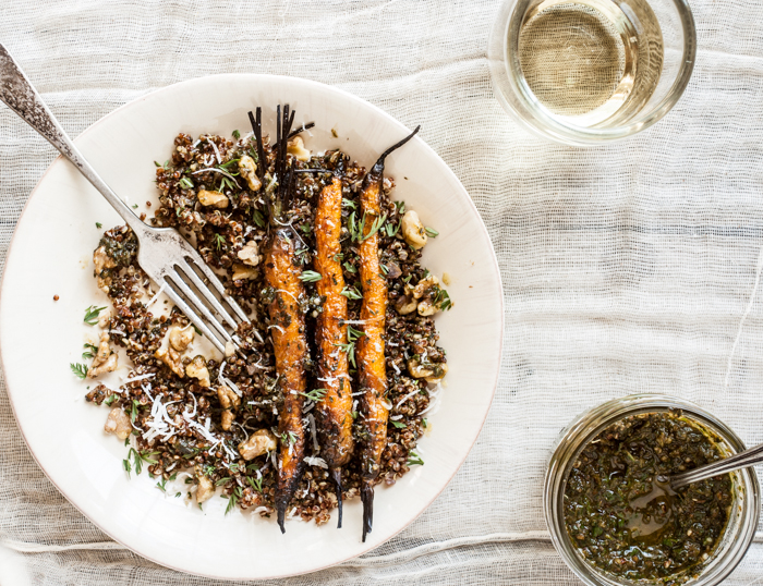 Grilled Carrots with Carrot Top Pesto