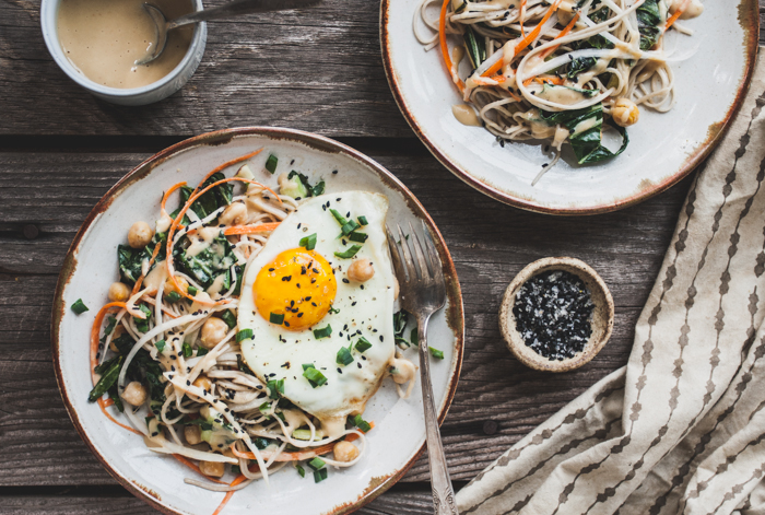 Daikon Radish & Soba Noodles with Chickpea Ginger Miso Sauce