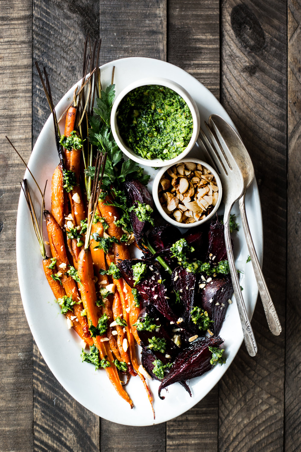 Honey Roasted Carrots & Beets with Carrot-Top & Marcona Almond Pesto