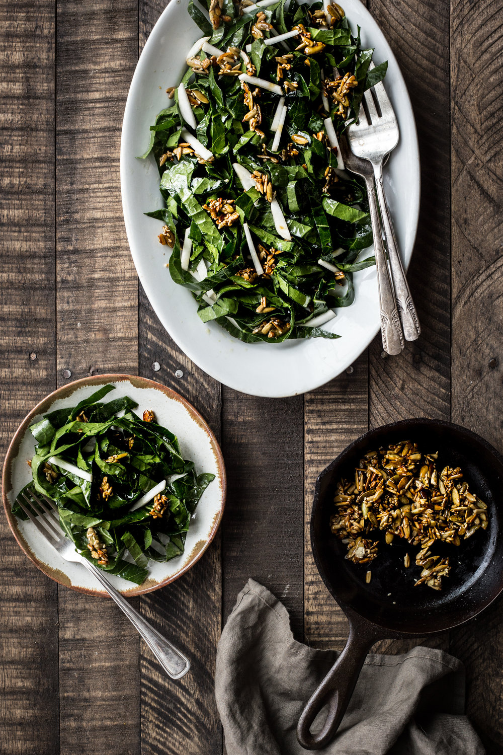 Collard Green Slaw with Spicy Seed Brittle (swap the turnips for beets!)