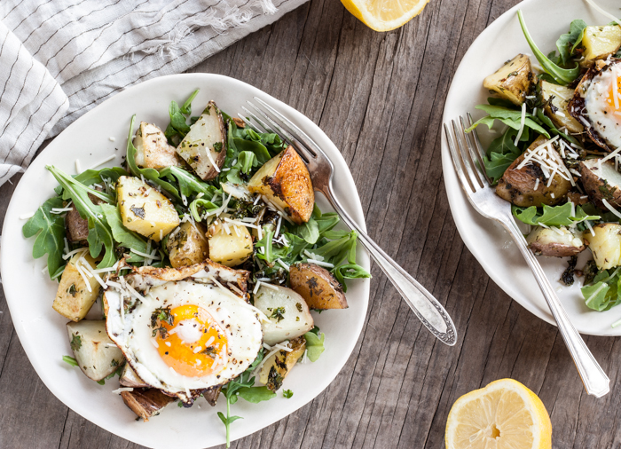 Garlic Parmesan Roasted Potato Salad with Arugula & Fried Eggs