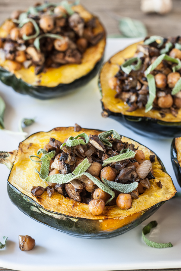 Chickpea & Mushroom Stuffed Squash (use your sweet potato squash here!)