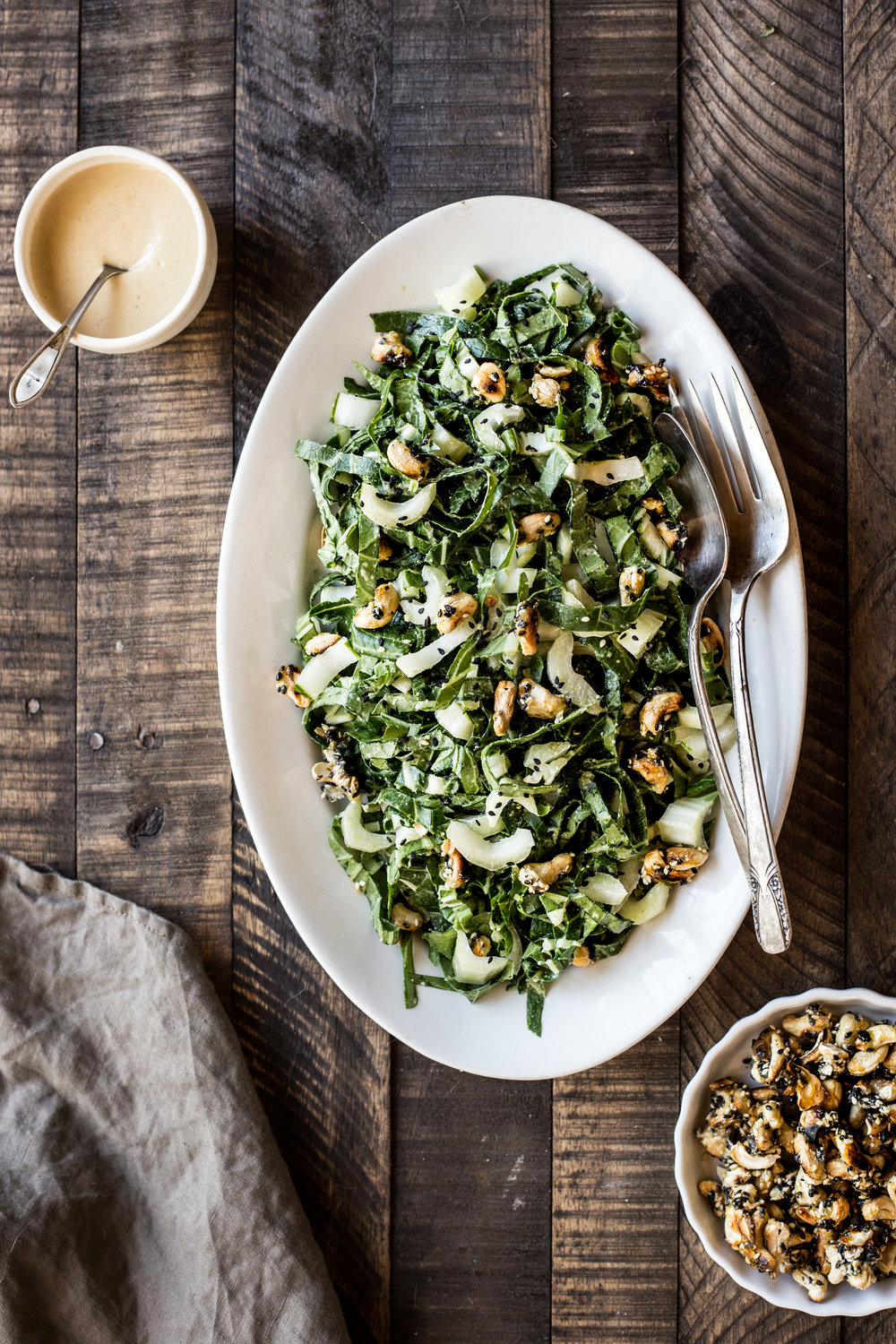 Bok Choy Salad with Miso Tahini Dressing & Sesame Cashew Clusters