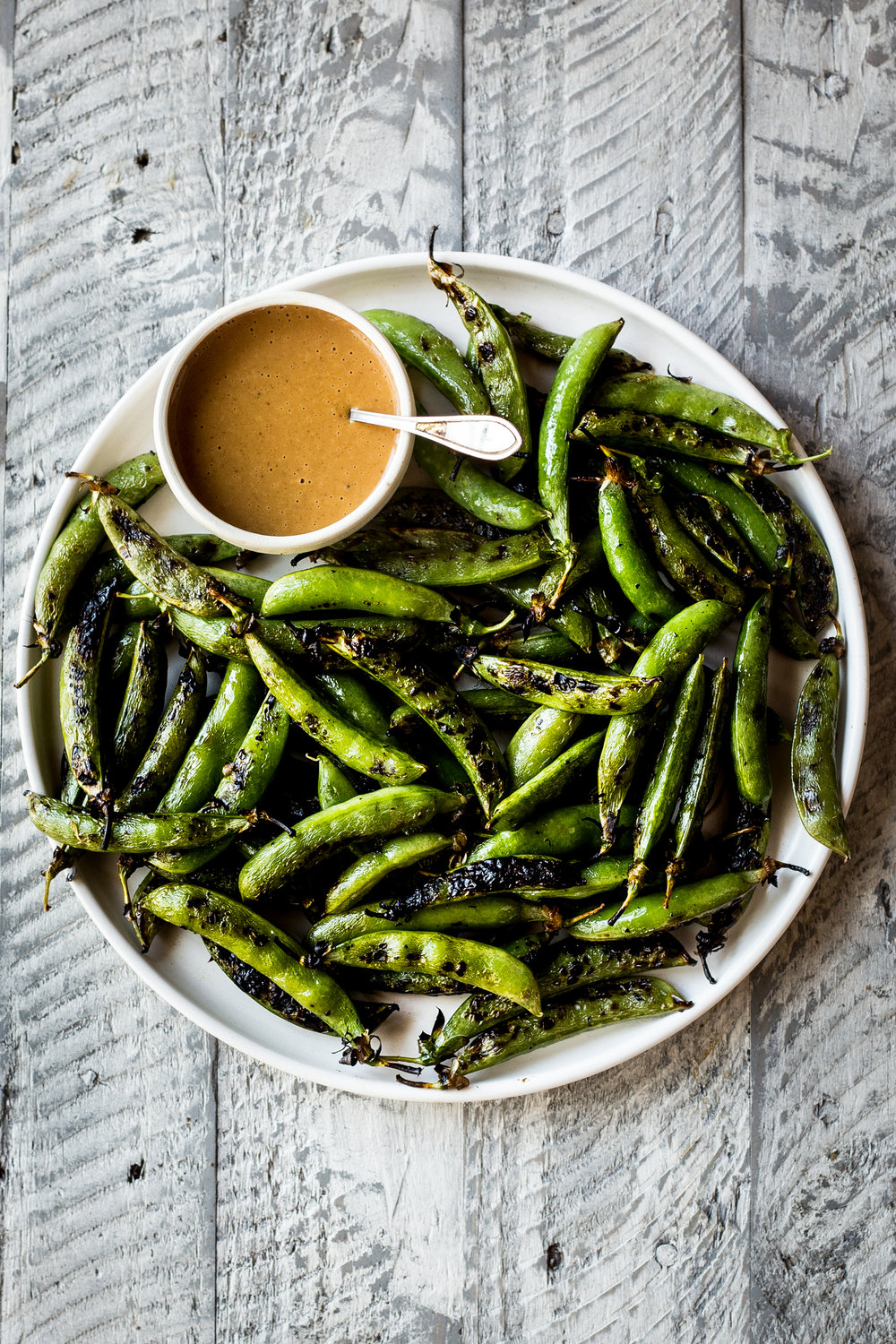 Grilled Sugar Snap Peas with Peanut Dipping Sauce