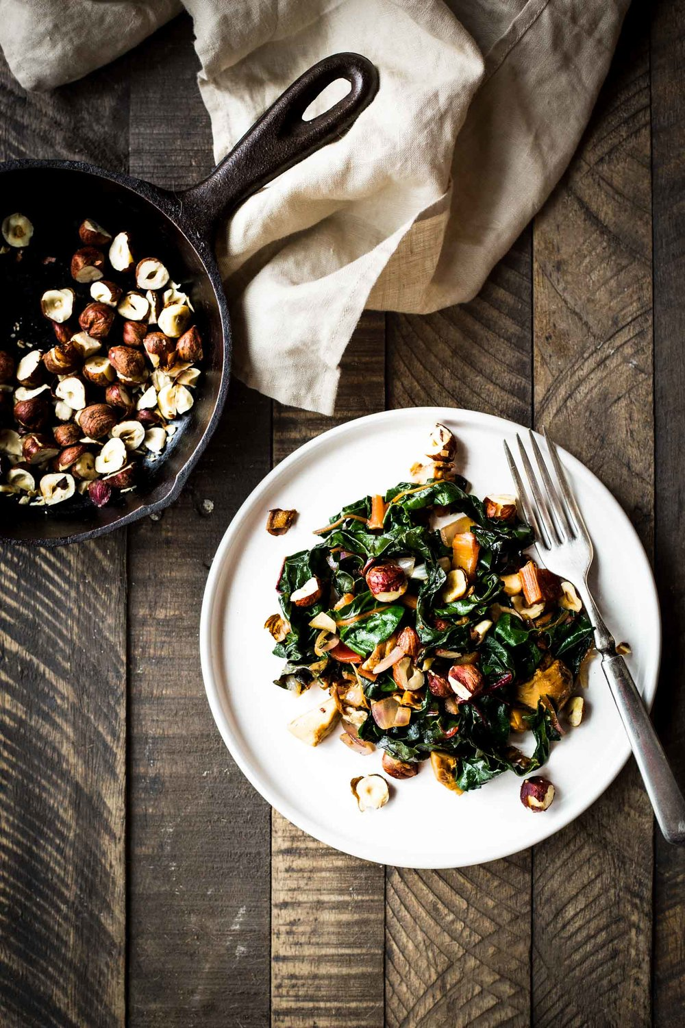 Chard With Hazelnuts & Mushrooms
