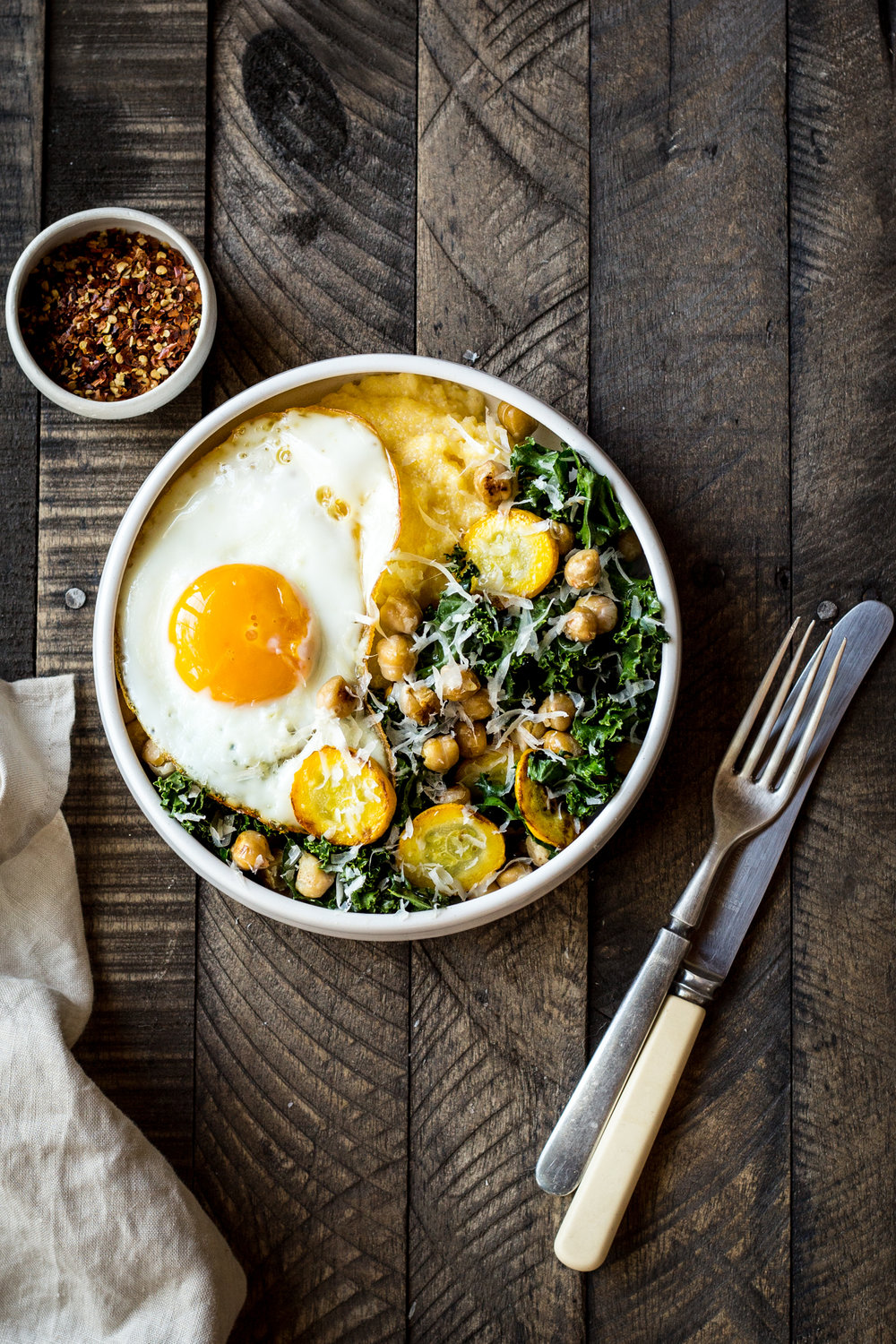 Polenta Bowl with Garlicky Summer Squash and Kale
