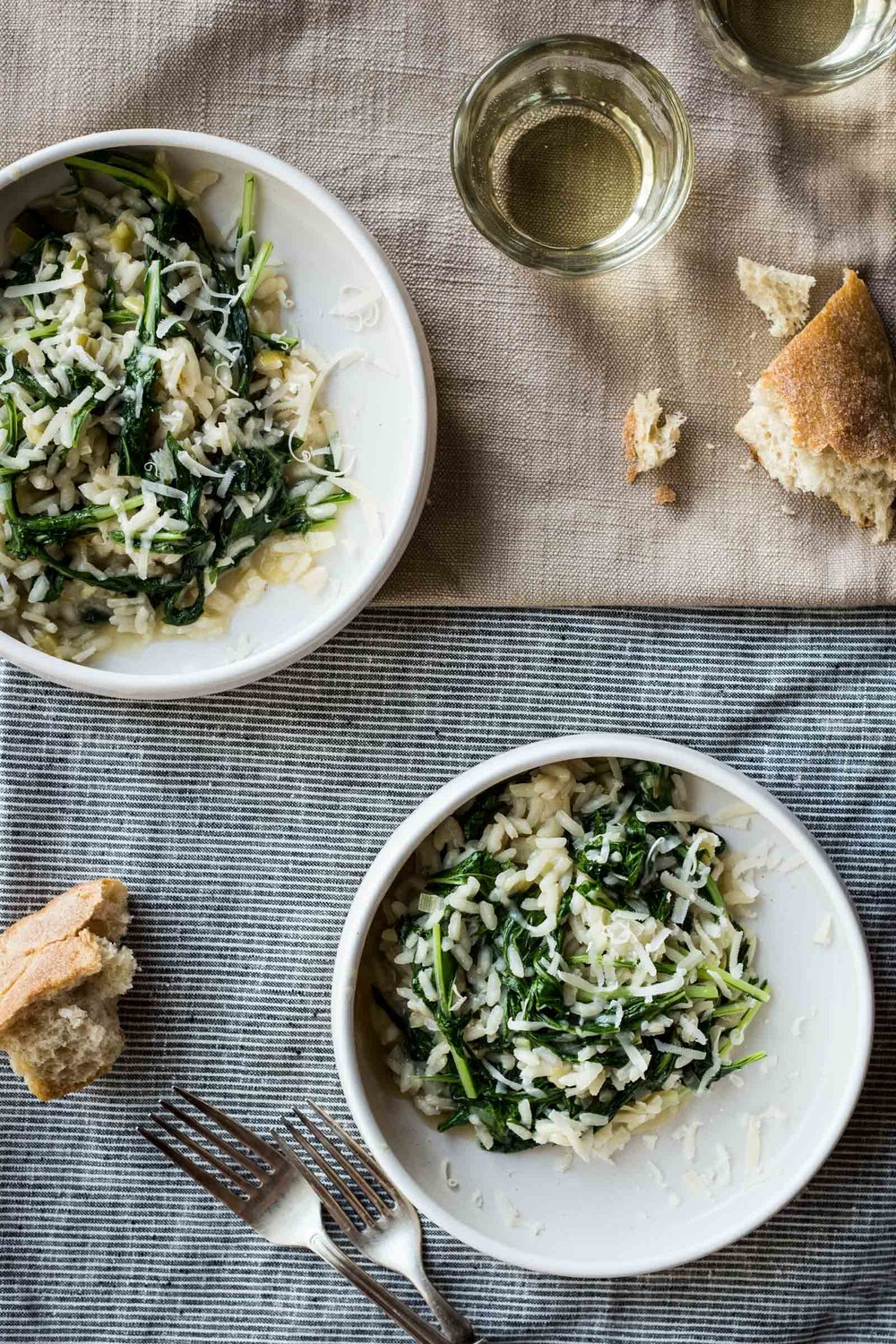 Garlicky Risotto with Mizuna   (substitute the green garlic with leeks or scallions)