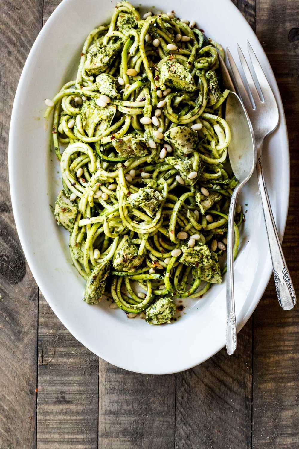Chicken Pesto Zucchini Noodles