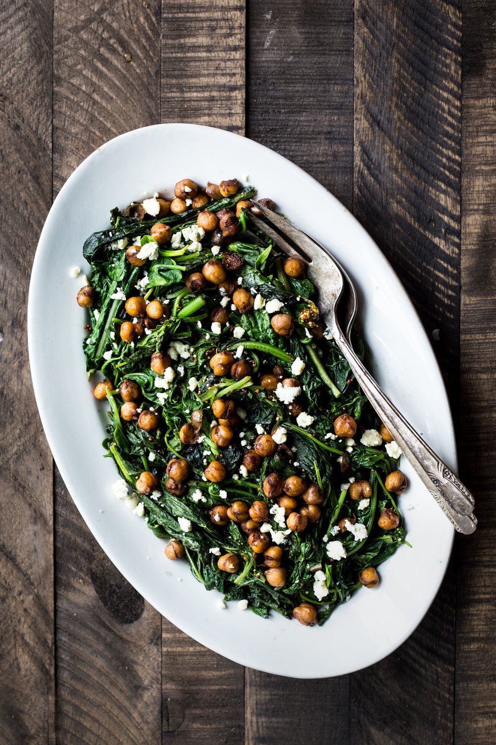 Braised Mustard Greens with Balsamic Glazed Chickpeas