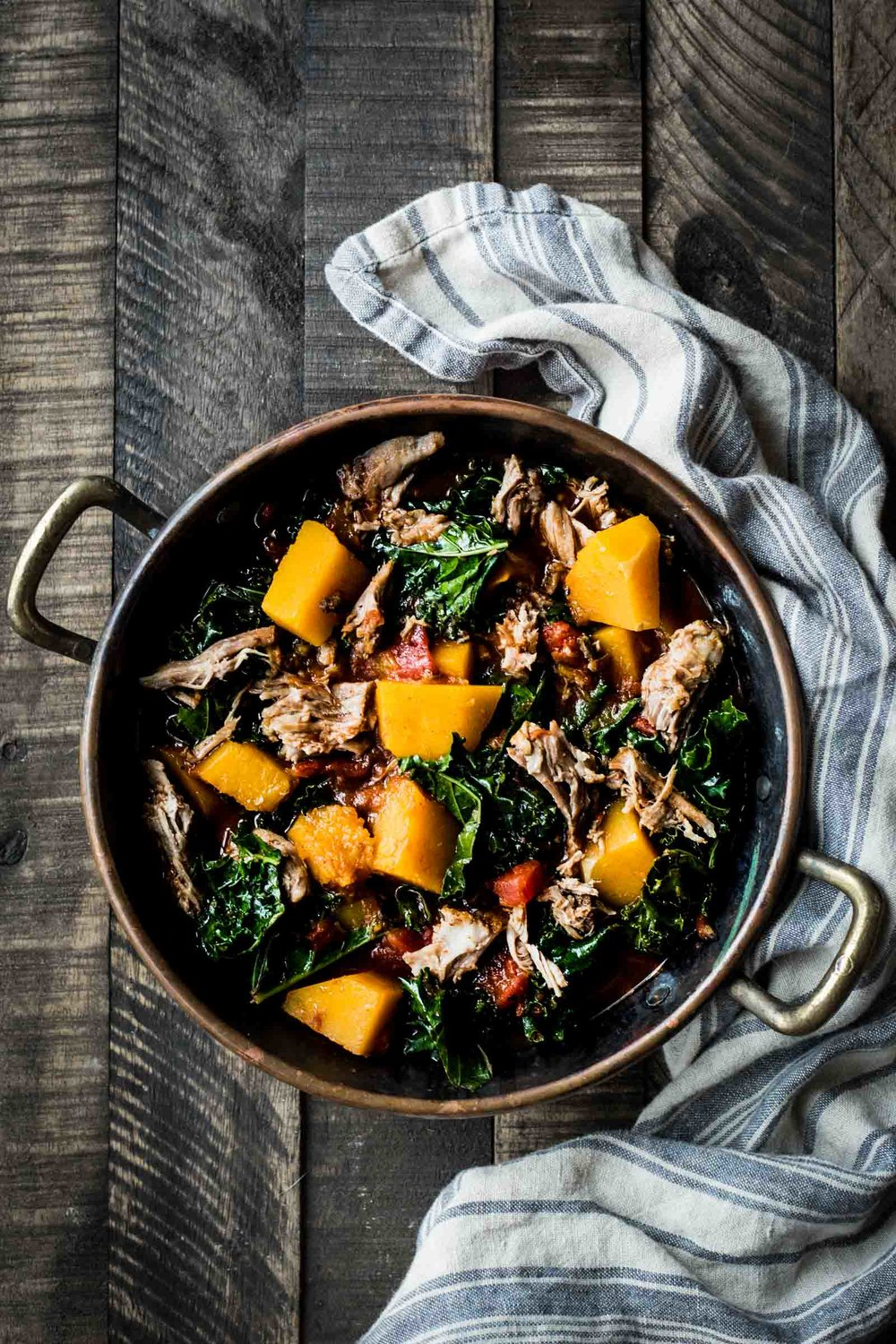 Pork and Winter Squash Stew (you can sub the spinach for the kale in this recipe)