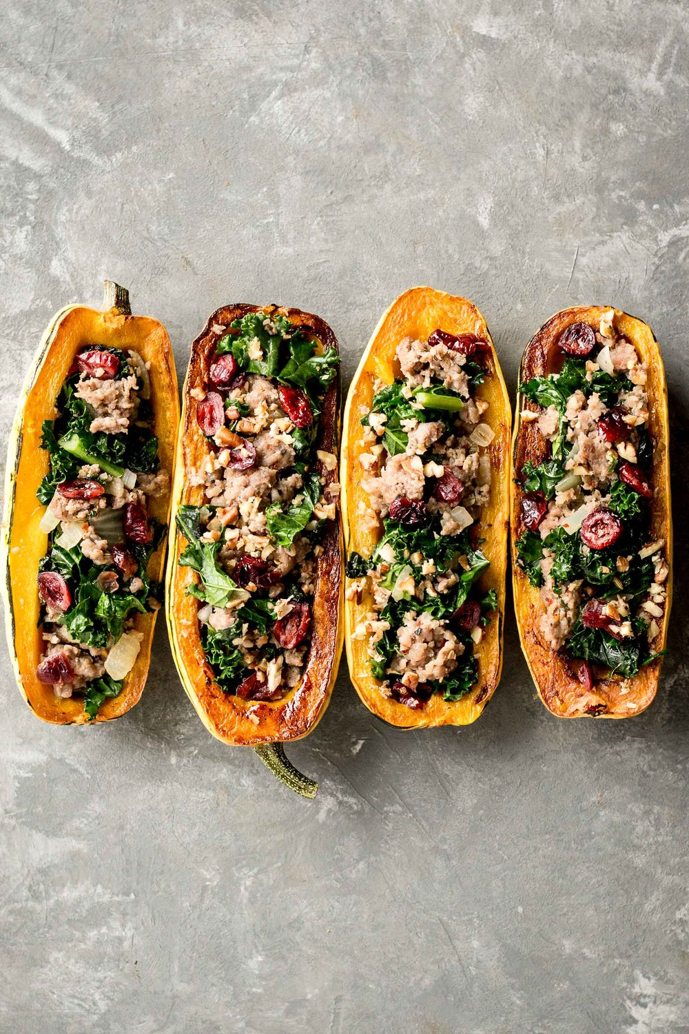 Autumn Spiced Pork Sausage & Kale Stuffed Squash   (use any winter squash here)